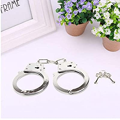 1 Pair Metal Handcuffs Party Toys for Police Role Play Kids Party Supplies Accessory for Halloween (silver)
