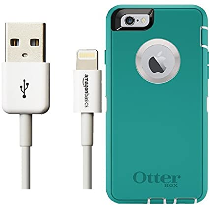 471ef2cbac4 Otterbox Defender Series Case for iPhone 6 6s and AmazonBasics Lightning  Cable (6-