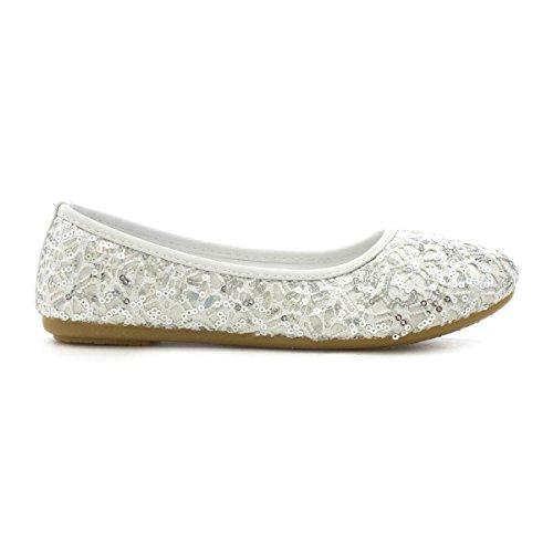 Lilley Ballerina-Schuh IM Weiß mit Sequins für Mädchen durch Weiß
