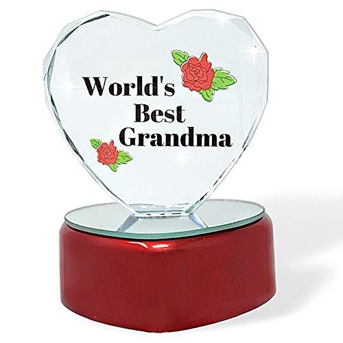Light up LED Heart for Grandma - World's Best Grandma - Glass Heart on LED Lighted Base