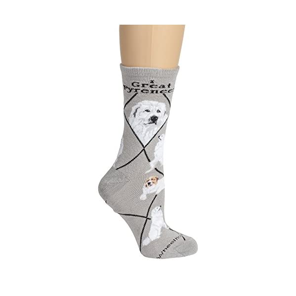Great Pyrenees on Gray Lightweight Stretch Cotton Crew Sock 3