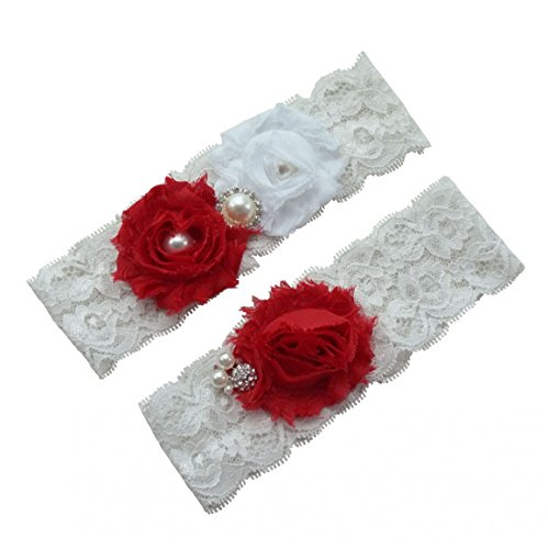 6d25fd20331 Miranda s Bridal Women s Lace Floral Bridal Garters Wedding Garters with  Rhinestone and Pearl Red L