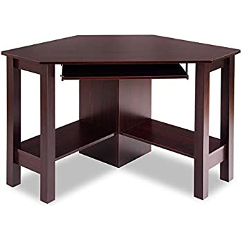 Great Tangkula Corner Desk, Corner Computer Desk, Wood Compact Home Office Desk,  Laptop PC