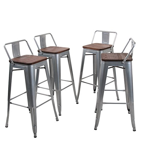 (Tongli Metal Barstools Set Industrial Counter Height Stools(Pack of 4) Patio Dining Chair Silver Wooden Seat Low Back)