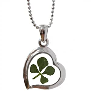 REAL CLOVER 4-LEAF SHAMROCK HEART GOOD LUCK CHARM SILVER PENDANT CHAIN NECKLACE