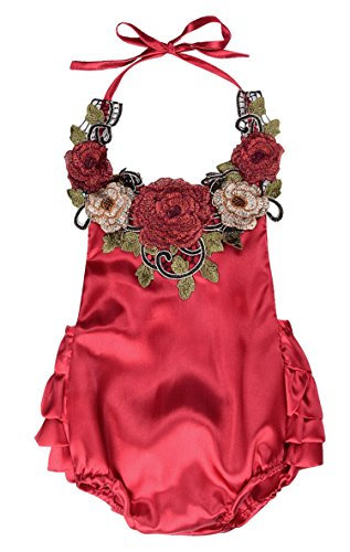 Newborn Toddler 3D Flower Applique Halter Floral Romper,Backless Bodysuit,Ruffle Sunsuit (100(18-24M), Red)