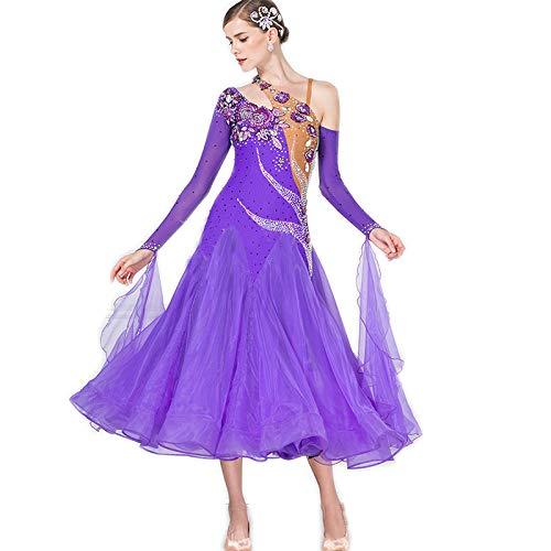 garuda★サイズメイド セミオーダー高級ドレス レディース社交ダンス衣装競技パーティーダンスドレス パープル パープル セミオーダー