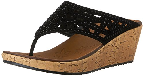 Skechers Cali Women's Beverlee Wedge Sandal,Black Dazzle,8 M US (Thong Platform Shoes)
