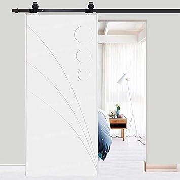 Kit de guía para puerta corredera Ferretería (acero al carbono Polea de Rail suspendida sistema de puerta interiores armario de baño Durable 183 cm/200 cm negro, negro: Amazon.es: Bricolaje y herramientas