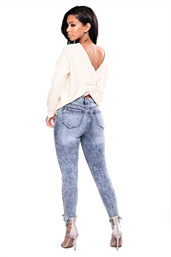 Denim Leggings Elástico destruido Mujer Vaqueros dificultad arrancó Dunland Skinny Pantalones Flacos BF7wIP