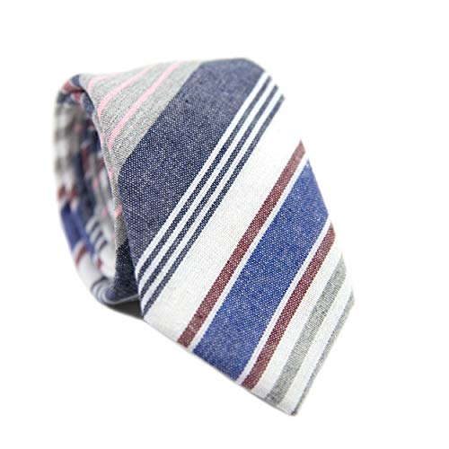 (DAZI Men's Skinny Tie, Cotton Wool Linen Necktie, Great for Weddings, Groom, Groomsmen, Missions, Dances, Gifts. (Spring Stripe))