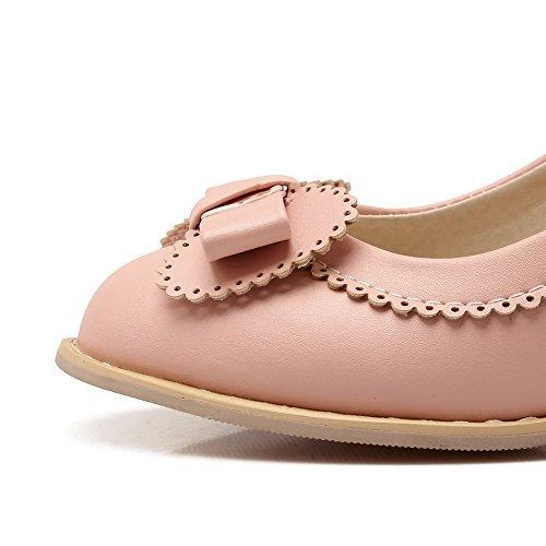 Pinkki Pumput Solid Päälle Pehmeää Vedettävä Toe Ympäri Korkokenkiä Amoonyfashion Naisten kengät Suljetun Materiaalia On4Tf7wx