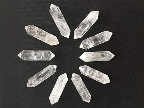 "JIC Gem 9pc 1.5"" Healing Crystal Wands Hexagonal Double Terminated Point Prism Bar Polished Clear Quartz Wand Reiki Chakra Meditation Therapy Polished Tumbled Stone"