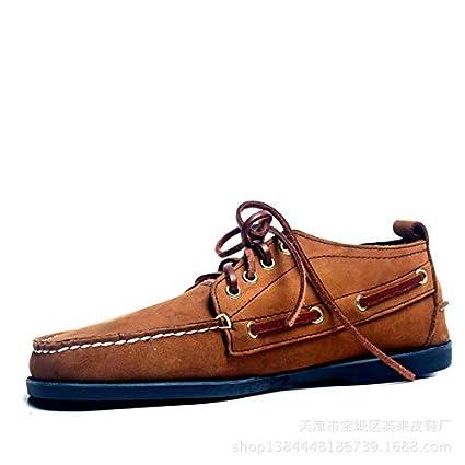 Qiusa Zapatos de Barco con Cordones para Hombre Mocasines duraderos de Cuero Genuino Hechos a Mano