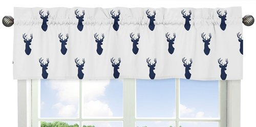 Navy and White Woodland Deer Collection Boys Window Valance