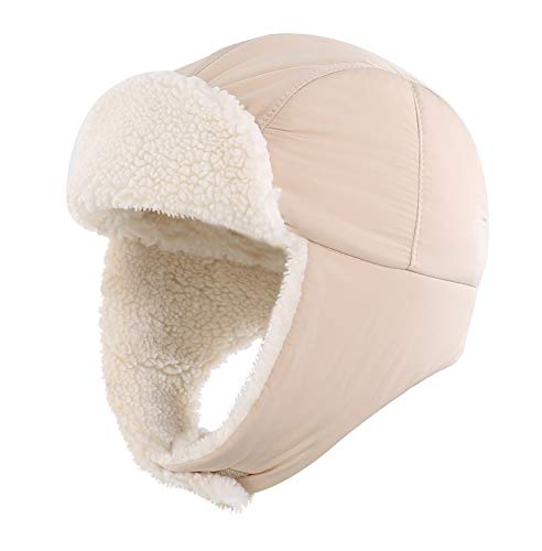 Home Prefer Baby Trapper Hat Sherpa Lined Warm Winter Hat for Baby Boys Girls Earflap Hats for Kids Winter Hat Beige S