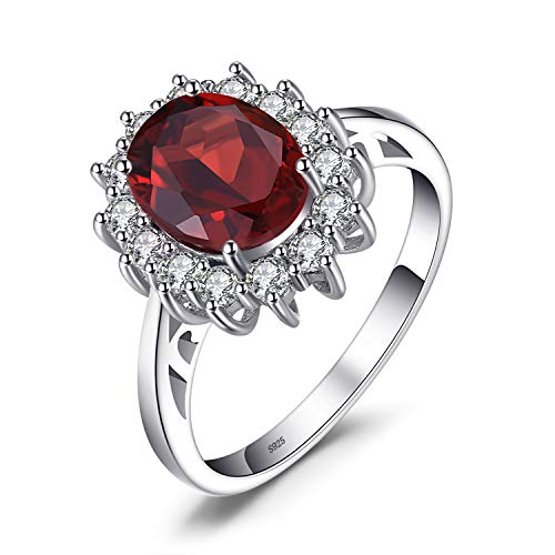 JewelryPalace Natural Gemstones Garnet Birthstone Halo Solitaire Engagement Rings For Women For Girls 925 Sterling Silver Ring Princess Diana William Kate Middleton Size 6
