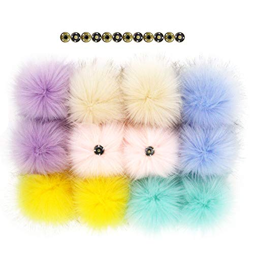 12pcs Fluffy Faux Fox Fur Pompoms with Press Button for Knitting Hats Scarves Accessories 4.3 Inches from Furling