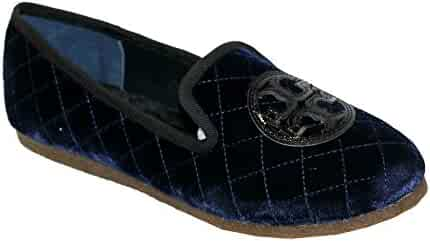 903bf3039bdfc4 Tory Burch Quilted Billy Slipper Smart Velvet Leather Shoes Bright Navy