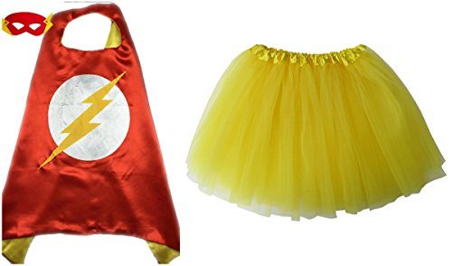 Girl Flash Costumes (Superhero or Princess TUTU, CAPE, & MASK SET COMPLETE COSTUME - Kids Childrens Halloween (Flash - Red & Yellow))