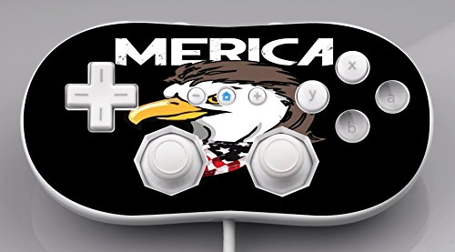 USA Eagle Mullet Merica America Black Background Wii Classic Controller Vinyl Decal Sticker Skin by Moonlight Printing (Hicks Outdoor)