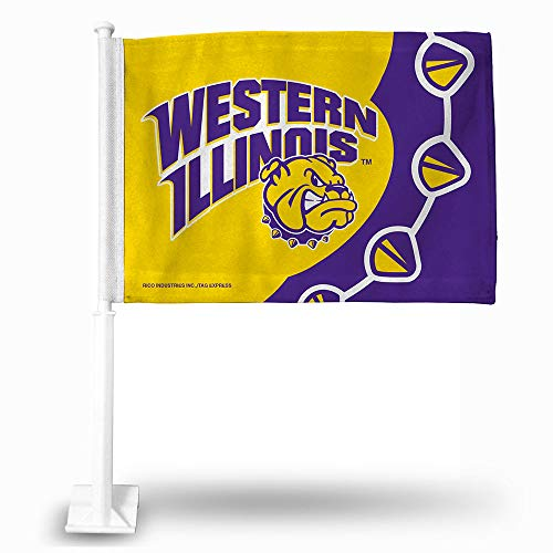 Rico NCAA Western Illinois Version 2 Car Flag, Logo Color, 8 x 1
