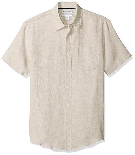 Amazon Essentials Men's Slim-Fit Short-Sleeve Linen Shirt, Natural, Medium