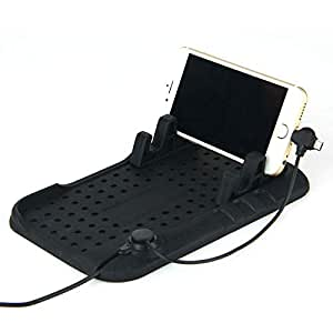 Car Dashboard Phone Holder Stand Micro USB Mount Charger Silicone Non-Slip Pad