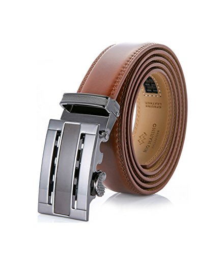 Custom Western Belt Buckles - Marino Men's Genuine Leather Ratchet Dress Belt With Automatic Buckle, Enclosed in an Elegant Gift Box - Burnt Umber - Adjustable from 38