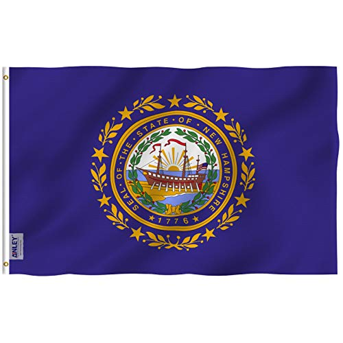 Anley Fly Breeze 3x5 Foot New Hampshire State Flag - Vivid Color and UV Fade Resistant - Canvas Header and Double Stitched - New Hampshire NH Flags Polyester with Brass Grommets 3 X 5 Ft