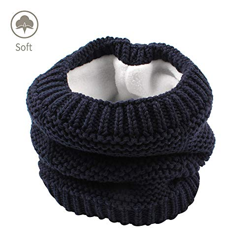 XIAOHAWANG Baby Winter Scarf Warm Kids Thick Knit Scarves Plush Lining Double Layered Toddler Neckerchiefs Lovely (Navy 1)