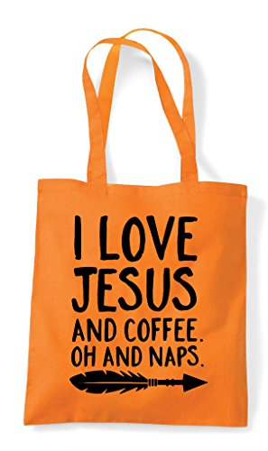 Love Religious Orange Oh Bag Shopper Tote Naps I Jesus And Coffee Statement TqxYRw