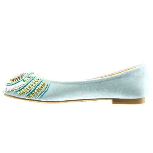 Perla Slip Angkorly on Gioielli Moda Donna cm Blu 1 a Tacco Scarpe Ballerina Blocco qrrfZ0