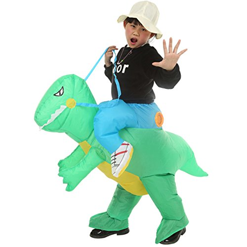 Qshine Inflatable Rider Costume Riding Me Fancy Dress Funny Dinosaur Dragon Funny Suit Mount Kids Adult (Child, Green) by Qshine (Image #1)