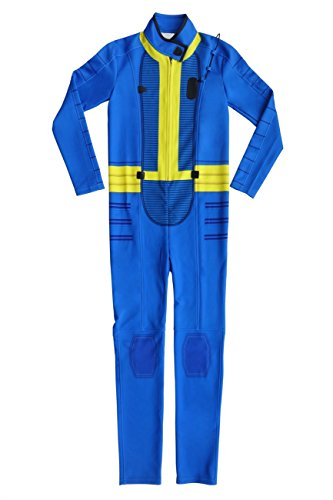 Fallout Cosplay Costume (DAZCOS Premium US Size Adult Blue Jumpsuit Cosplay Costume (Men Small))