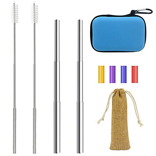 Retractable Stainless Steel Drinking Straw Metal Adjustable for Travel and Home