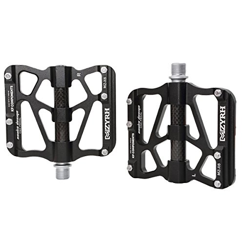 ThinkTop Mountain Bike Pedals Axle 9/16 3 Bearing Platform Pedals Flat Carbon Fiber and Aluminum Sealed Ever Lubricate Bearing for Road BMX MTB Bicycle Cycling,Black