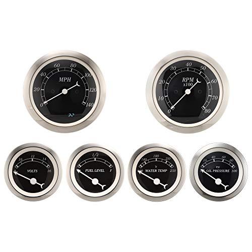(6 Piece Antique Classic Gauge Set Black Dial Electric Speedometer Tach Fuel Level Oil Pressure Water Temperature Voltage car auto Automotive aftermarket Cluster Meter kit)