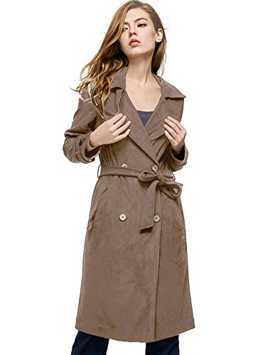 ble-Breasted Trench Coat Faux Suede Jacket with Belt Khaki ()