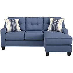Benchcraft - Aldie Nuvella Contemporary Sofa Chaise Sleeper - Queen Size Mattress Included - Blue