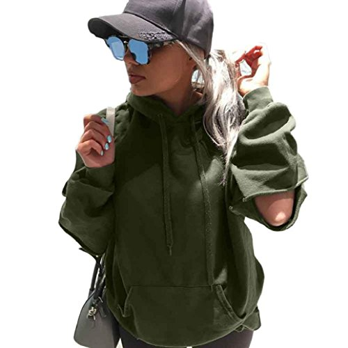 Price comparison product image AMA(TM) Women Casual Loose Hooded Sweatshirt Hoodie Pullover Tops Coat (Medium,  Army Green 2)