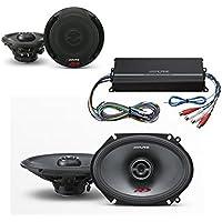Alpine SPR-50 5-1/4 Coaxial 2-Way Type-R Speaker Set + SPR-68 6x8 Coaxial 2-Way Type-R Speaker Set + Alpine KTP-445U 4-channel Power Pack Amplifier