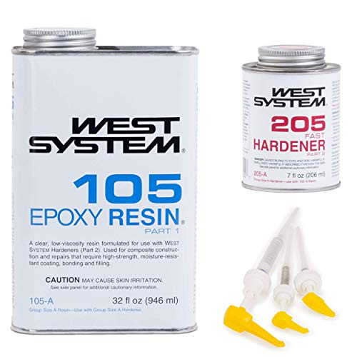 Epoxy Polyester Resin (West System 105A Epoxy Resin (1 qt) With 205A Fast Epoxy Hardener (.43 pt) + Mini Epoxy Metering Pump Set)