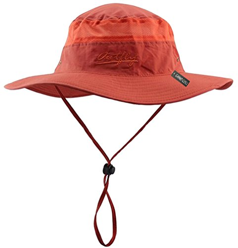 Camo Coll Outdoor Sun Cap Camouflage Bucket Mesh Boonie Hat (Orange, One Size)