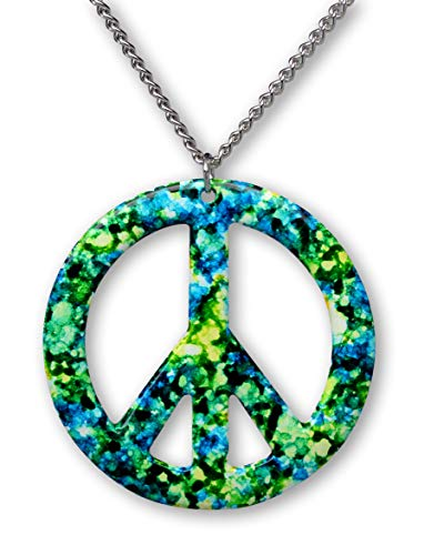 Real Metal Green Blue Hippie Tie Dye Peace Sign Enamel on Pewter Pendant Necklace (Large)