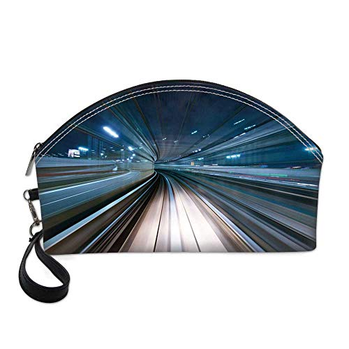 Modern Small Portable Cosmetic Bag,Motion Blur of City and Tunnel Moving Monorail in Tokyo Futuristic Transportation For Women,One size