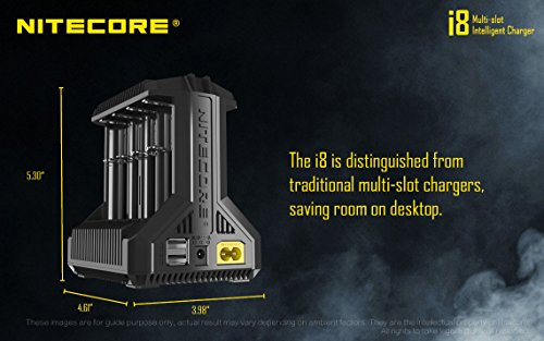NITECORE i8 Eight Bays Smart Battery Charger for Li-ion/IMR/Ni-MH/Ni-Cd 26650 22650 18650 18490 18350 16340 RCR123 14500 AA AAA AAAA C D USB with EdisonBright BBX3 Battery Carry case by EdisonBright (Image #7)
