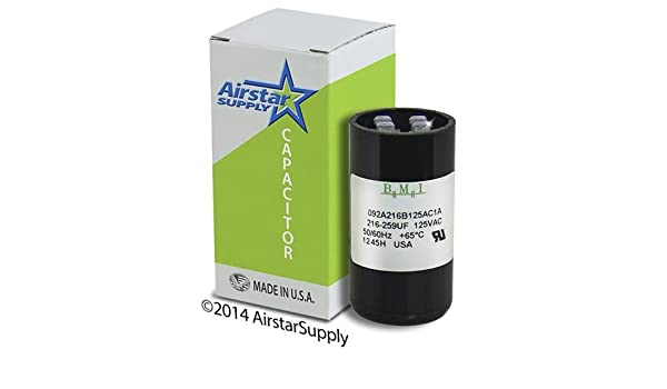 216-259 uF x 220 250 VAC /• Dayton Grainger 6FLV9 Start Capacitor /• BMI Replacement # 092A216B250CD6A /• Made in the USA