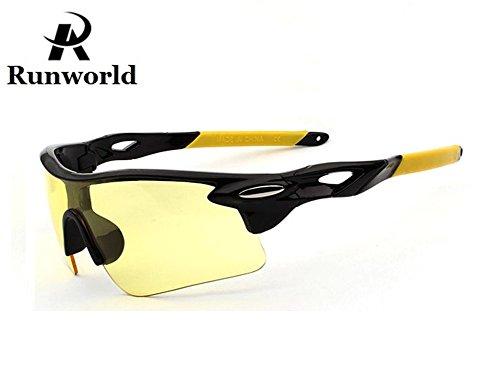 Runworld Men's HD Night View Driving Glasses Polarized Anti-glare Rain Day Night Vision Cycling Sunglasses from Runworld