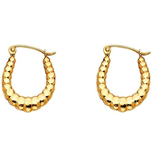 Oval Shrimp Hoop Earrings 14k Yellow Gold Hollow French Lock Polished Fancy Genuine Solid 18 x 15 mm 14k Yellow Gold Shrimp Hoop